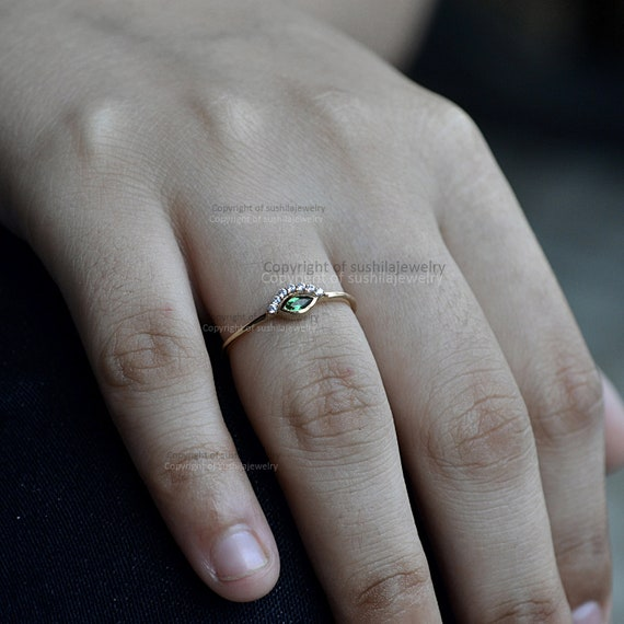 Solid 14k Yellow Gold Natural Solitaire Diamond Evil Eye Delicate
