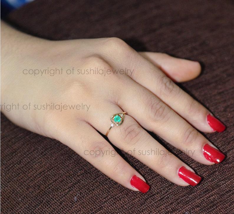 Natural Emerald Diamond Engagement Wedding Band Ring in 18k Solid Yellow Gold Handmade Gemstone Jewelry