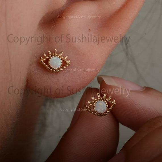 Solid 14k Yellow Gold Tiny Evil Eye Studs Earrings Handmade Minimalist Diamond Jewelry Gift