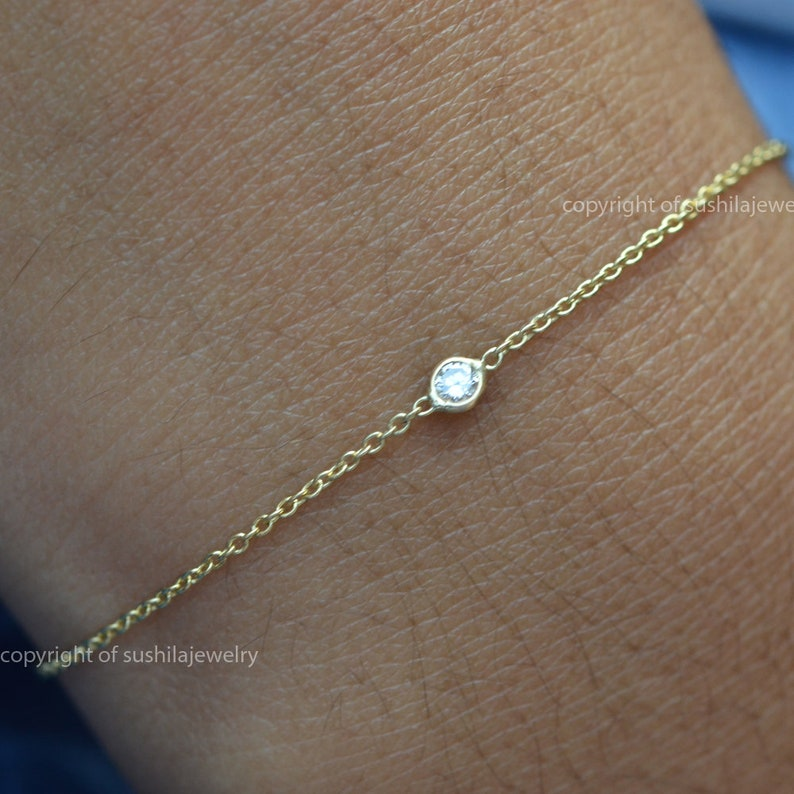 Solid 14k Yellow Gold Natural solitaire Diamond Charm Bracelet Handmade Fine Jewelry