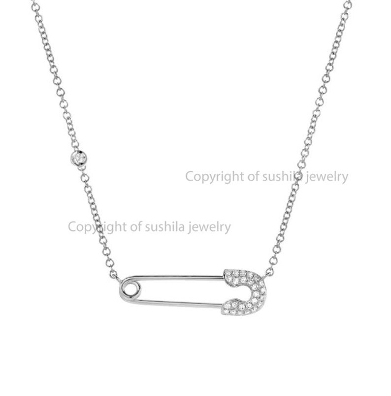 New lifstyle jewelry collection Adjustbale chain length 14K Solid Rose gold Genuine Diamond safety Pin Pendant necklace