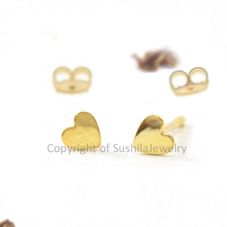 a92ab7315 Heart love Tiny Stud Earrings in 14k Solid Yellow Gold   Etsy