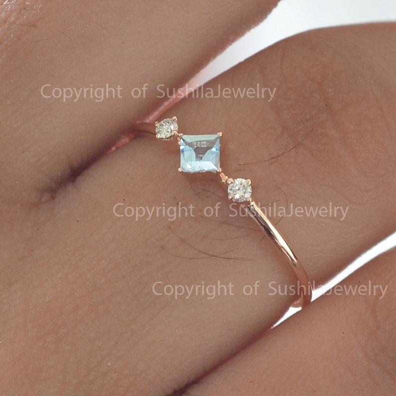 Genuine Aquamarine Gemstone Ring in 14k Yellow Gold Wedding Anniversary SI Clarity G Color Diamond Stackable Ring Handmade Jewelry