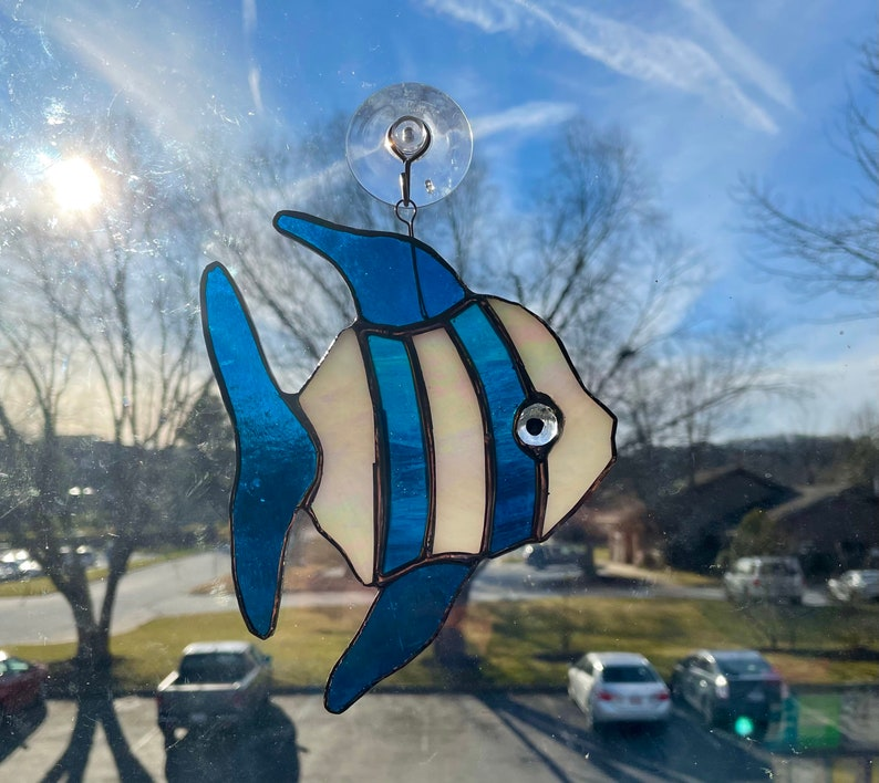 Stained Glass Angel Fish Iridescent White and Turquoise Glass Suncatcher Ocean Lover Gift Fish Art Tropical Fish Decor