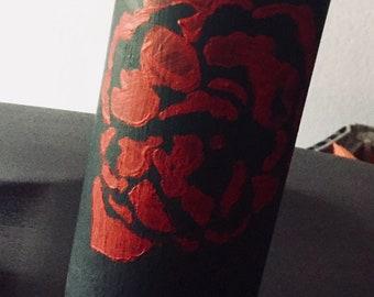 Acrylic painted glass vase