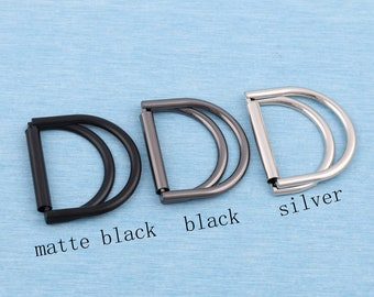 25mm 1 Common Slotted D-Ring Black Double D-Ring Buckle