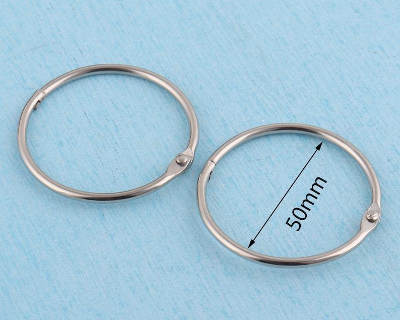 2/'/' silver binding rings,50mm outer metal book binder hinge,snap O ring binder ring book ring for circular key ring accessories