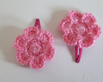 Pair of sparkle pink crocheted flower hair clips