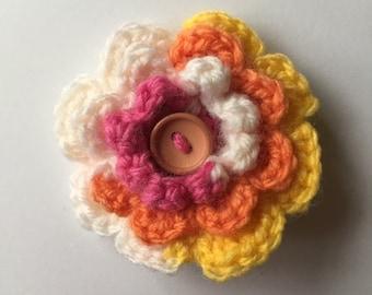 Crochet flower hair clip multi colour