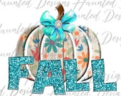 Fall Pumpkin Wood Glitter Bow Floral Sublimation Design PNG Clipart Graphic, Digital Download