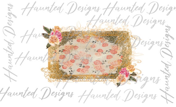 Floral Rose Glitter Gold Shabby Chic Frame PNG Graphic Clip