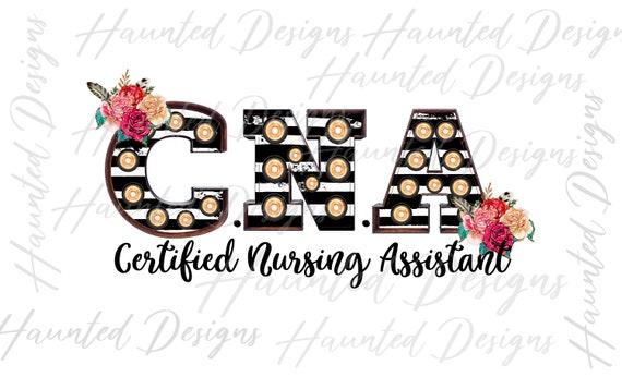 Cna Certified Nursing Assistant Stripe Clip Art Flower Design Etsy