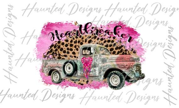 Instant Digital Download Graphic Clip Art Striped Leopard Serape XO Heartbreaker Sublimation design Rusty Pink Truck Dirt Road PNG