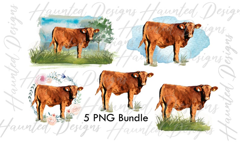Clip Art Design Digital Download Graphic Cow Bundle Watercolor Landscape Wreath PNG
