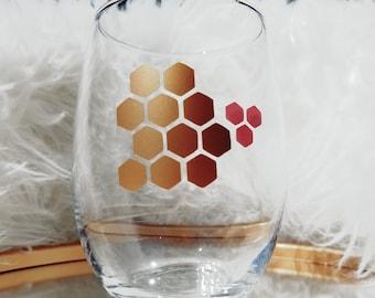 Honey Comb Stemless Wine Glass