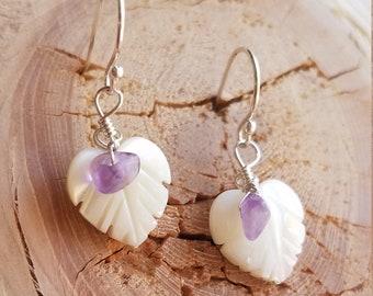 White Leaf Seashell and Amethyst Earrings