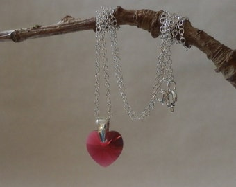 Sterling Silver 925 pendant with small scarlet rose heart Swarovski crystal
