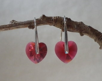 Sterling Silver 925 earrings with small scarlet rose heart Swarovski crystals