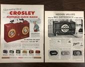 Zenith Radio , Crosley Clock Radio 1950s Original Magazine Print Ad, Advertisemen, 2 Ads In One Backing Board 429