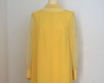 1960s Vintage Yellow Lace Chiffon Dress.