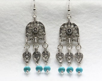 Filigree Chandelier Earring with Howlite Beads