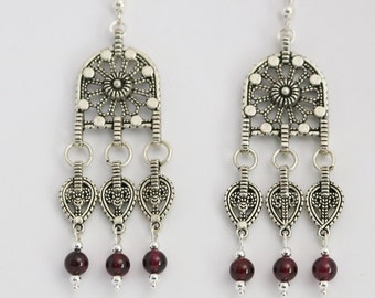 Filigree Chandelier Earrings with Garnet Beads