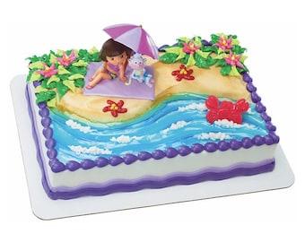 Dora The Explorer Beach Fun Cake Topper Decoration