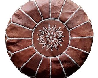 Desert Tan Moroccan Leather Pouf