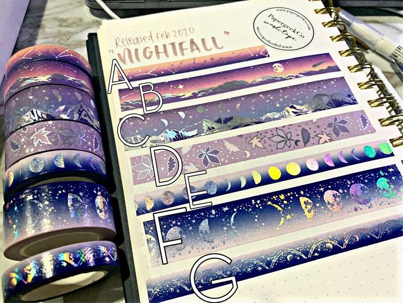 Papergeekco Nightfall washi tape Release February 2020