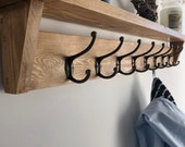 Oak Coat Rack with Shelf made from Oak- Wooden Vintage Entryway Shelf with Cast Iron Finish Hooks