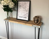 Scaffold Board Console Table Made from Reclaimed Wood- Hallway Table with Metal Legs