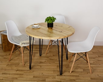 Round Rustic Dining Table - Industrial Kitchen Circular Table - Reclaimed Wooden Table with Steel Hairpin Legs
