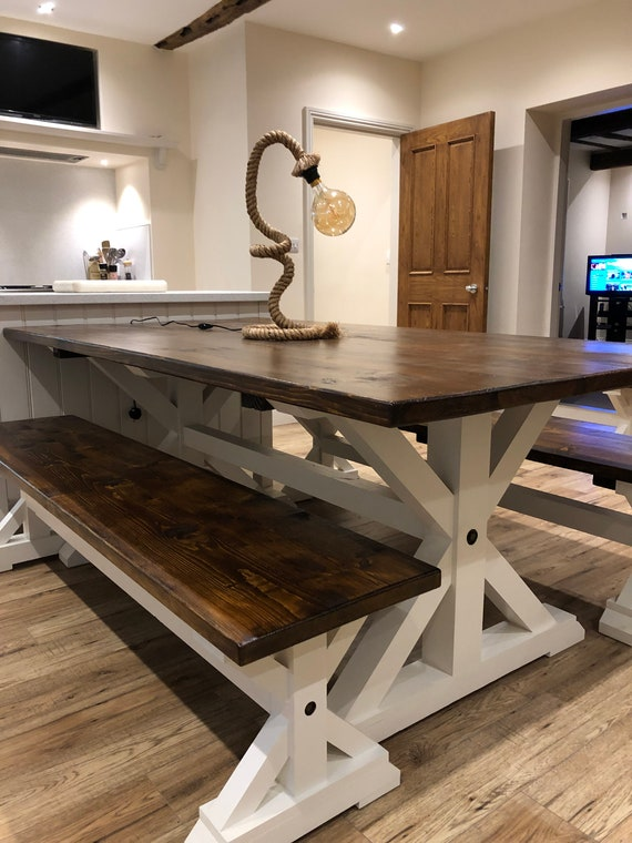 Rustic Farmhouse Kitchen Dining Table Large Wooden Table 10 Etsy