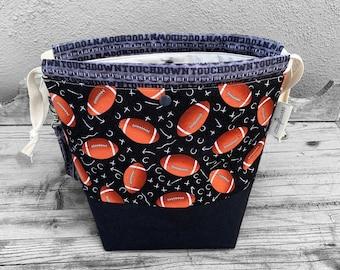 Large Knitting Project Bag -Large Knitting Bag - Craft Project Bag -Knitting Sack - Pigskin Party 2021