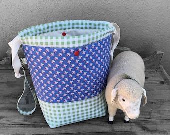 Knitting Project Bag -Large Knitting Bag - Craft Project Bag -Knitting Sack - Knitter's Gift- Cherries