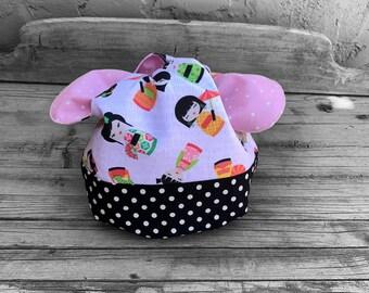 Small Knitting Bag - Sock Knitting Bag - Amigurami  Project Bag - Dumpling Bag - Make up Bag - Japanese Tied Knot Bag - Girl