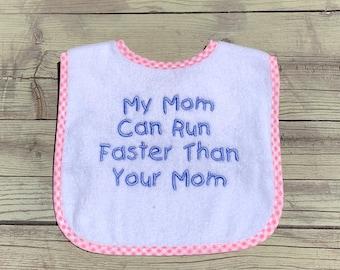 Personalized Cotton Baby Bib - Custom Embroidered Baby Bib - Monogrammed Baby Bib -