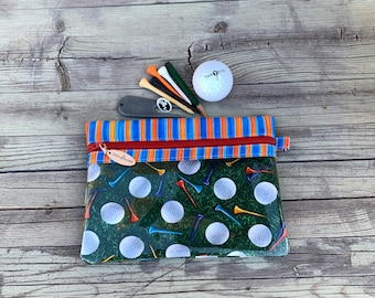 Golf Gift - Golf Pouch - Golf Pouch for Tees - Golf Accessory Pouch - Golf Zipper Case - Make Up Bag - Golf Cosmetic Case