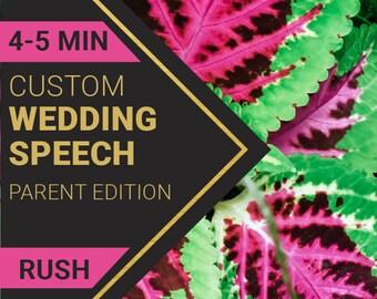 4-5 Minute Parent Wedding Speech   RUSH ORDER   Custom-Written for You by a Professional Wedding Speech Writer