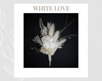 """Series: """"White Love"""" - Boutonniere - Pin Groom - Rose - Lapel Flowers - Best Man - Wedding - Lapel Flower - Outfit Groom"""