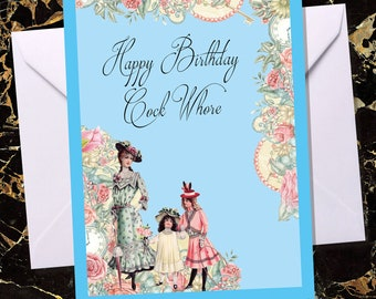 Rude Birthday Card Cheeky Offensive For Her Him Vintage