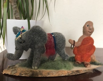 Buddha and his elephant, needle felted soft sculpture on wood base, ornamental , spiritual, home decor.