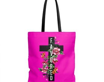 Copy Of Christian Girl Tote Bag  Favored Tote Bag  Floral And Favored Tote Bag  Black And Pink Favored Tote Bag