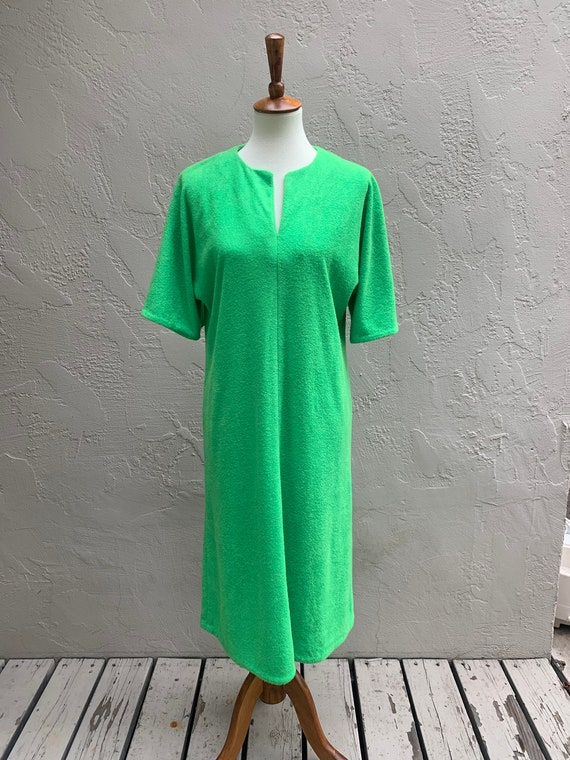 Vintage 70's Kelly Green Terrycloth Dress
