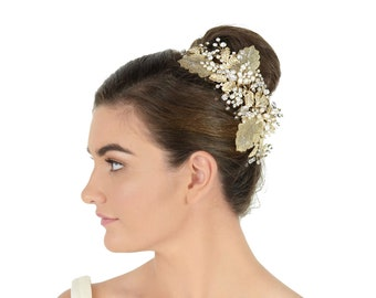 Poppy Side Comb by Jaclyn James   Elegant Crystal and Freshwater Pearl Bridal Side Comb