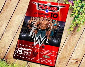 8325cc5f4b777 WrestleMania Birthday Invitation, WWE Party Invite, Custom Wrestling  Digital Printable Card, WWE Raw & SmackDown,