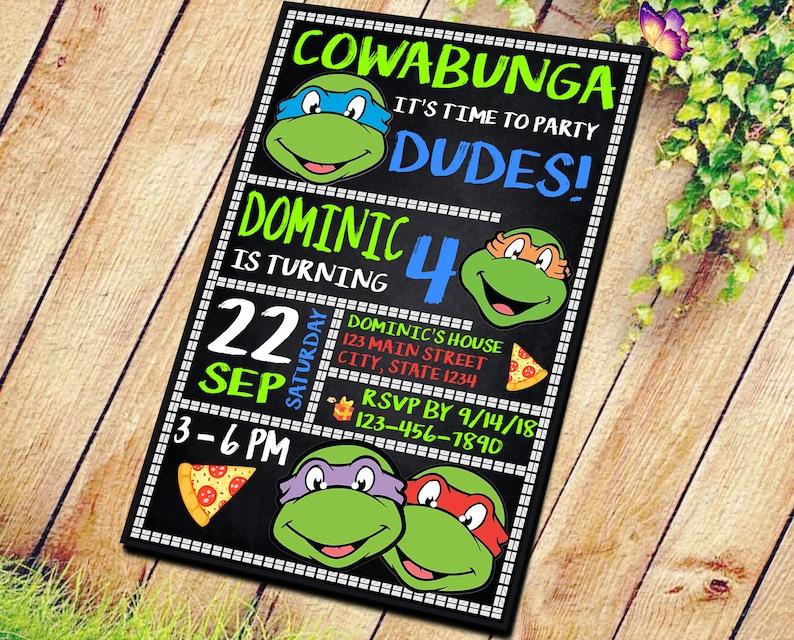 Ninja Turtle Invitation Turtles Party TMNT Teenage Mutant Invitations Birthday