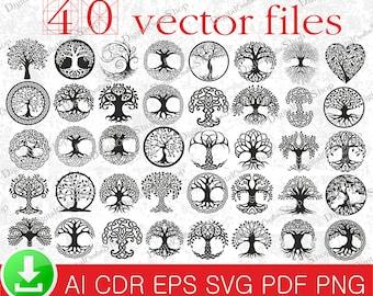 40 Tree of Life svg,Tree of life art print svg,Tree of life wall art,Tree of life tattoo files,Tree of life digital download P008