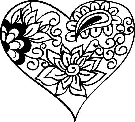 Heart zentangle svg file for cricut mandala heart cut file ...