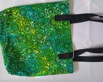 Green batik tote bag